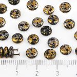 Lentil Round Flat Czech Two Hole Beads - Opaque Jet Black Granite Tweedy Gold Silver Patina Spotted - 6mm