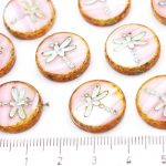 Coin Round Dragonfly Window Flat Czech Beads - White Pink Moonlight Moonstone Striped - 17mm