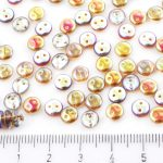 Lentil Round Flat Czech Two Hole Beads - Crystal Rainbow Brown - 6mm