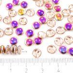 Lentil Round Flat Czech Two Hole Beads - Crystal Metallic Sliperit Iris Gold Purple Half Clear - 6mm