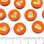 Flat Coin Trilobite Fossil Marine Window Table Cut Czech Beads - Picasso Brown Opaque Hyacinth Orange Gold Patina Wash - 17mm