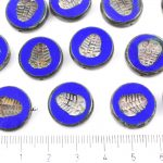 Flat Coin Trilobite Fossil Marine Window Table Cut Czech Beads - Picasso Brown Opaque Dark Blue Sapphire - 17mm