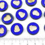 Flat Coin Trilobite Fossil Marine Window Table Cut Czech Beads - Picasso Brown Opaque Dark Blue Sapphire Gold Patina Wash - 17mm