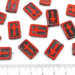 Rectangle Flat Window Table Cut Cross Religious Rosary Crucifix Czech Beads - Picasso Brown Opaque Coraline Coral Red Black Patina Wash - 17mm