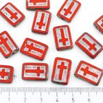 Rectangle Flat Window Table Cut Cross Religious Rosary Crucifix Czech Beads - Picasso Brown Opaque Coraline Coral Red Silver Patina Wash - 17mm