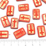 Rectangle Flat Window Table Cut Cross Religious Rosary Crucifix Czech Beads - Picasso Brown Opaque Coraline Coral Red Gold Patina Wash - 17mm