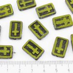 Rectangle Flat Window Table Cut Cross Religious Rosary Crucifix Czech Beads - Picasso Brown Opaque Olive Olivine Green Black Patina Wash - 17mm