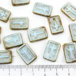 Rectangle Flat Window Table Cut Cross Religious Rosary Crucifix Czech Beads - Picasso Brown Opaque Light Turquoise Blue Silver Patina Wash - 17mm