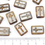 Rectangle Flat Window Table Cut Cross Religious Rosary Crucifix Czech Beads - Picasso Crystal Opal Brown Silver Patina Wash - 17mm