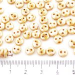 Lentil Round Flat Czech Two Hole Beads - Picasso Brown Honey Yellow White Luster - 6mm