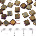 Square Silky Two Hole Flat Czech Beads - Metallic Brown Rainbow Iris Bronze - 6mm