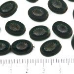 Oval Kiwi Window Table Cut Flat Czech Beads - Matte Crystal Green Rustic Picasso - 14mm