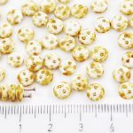 Lentil Round Flat Czech Two Hole Beads - Picasso Brown White Alabaster Opal - 6mm