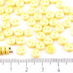 Lentil Round Flat Czech Two Hole Beads - Matte Pearl Topaz Yellow Cotton Candy - 6mm