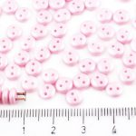 Lentil Round Flat Czech Two Hole Beads - Matte Pearl Rosaline Pink Cotton Candy - 6mm