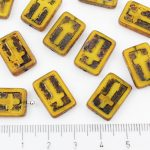 Rectangle Flat Window Table Cut Cross Religious Rosary Crucifix Czech Beads - Picasso Amber Opal Yellow Black Patina Wash - 17mm