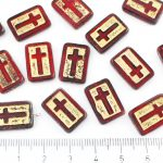 Rectangle Flat Window Table Cut Cross Religious Rosary Crucifix Czech Beads - Picasso Dark Ruby Red Gold Wash - 17mm
