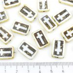 Rectangle Flat Window Table Cut Cross Religious Rosary Crucifix Czech Beads - Picasso White Brown Black Patina Wash - 17mm