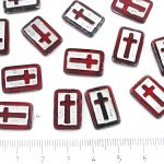 Rectangle Flat Window Table Cut Cross Religious Rosary Crucifix Czech Beads - Picasso Dark Ruby Red Silver Wash - 17mm