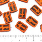 Rectangle Flat Window Table Cut Cross Religious Rosary Crucifix Czech Beads - Picasso Brown Opaque Hyacinth Orange Black Patina Wash - 17mm