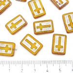 Rectangle Flat Window Table Cut Cross Religious Rosary Crucifix Czech Beads - Picasso Amber Opal Yellow Silver Patina Wash - 17mm
