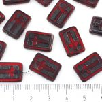 Rectangle Flat Window Table Cut Cross Religious Rosary Crucifix Czech Beads - Picasso Dark Ruby Red Black Wash - 17mm