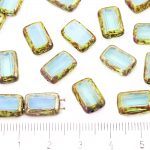 Rectangle Rustic Table Cut Flat Two Hole Czech Beads - Picasso Brown Aquamarine Blue Opal - 12mm