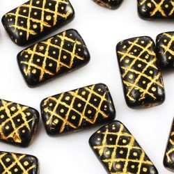 Wash Pine Cone Brick Plaid Flat Rectangle Christmas Czech Carved Beads