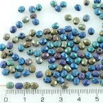 Round Faceted Fire Polished Czech Beads - Matte Iris Purple Blue - 4mm