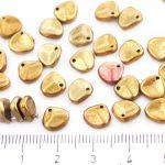 Flower Petal Czech Beads - Matte Gold Rainbow - 8mm