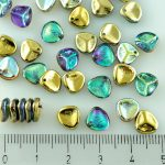 Flower Petal Czech Beads - Crystal Rainbow Gold - 8mm