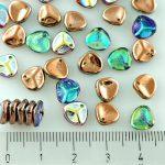 Flower Petal Czech Beads - Crystal Rainbow Copper - 8mm