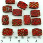 Rectangle Table Cut Window Czech Beads - Picasso Red - 12mm