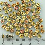 Forget-Me-Not Flower Czech Small Flat Beads - Marea Metallic Gold Purple - 5mm