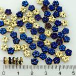 Forget-Me-Not Flower Czech Small Flat Beads - California Gold Blue Half - 5mm