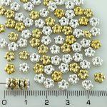 Forget-Me-Not Flower Czech Small Flat Beads - California Gold Silver Half - 5mm