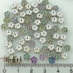 Forget-Me-Not Flower Czech Small Flat Beads - Crystal Silver Purple Half - 5mm