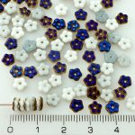 Forget-Me-Not Flower Czech Small Flat Beads - White Blue Azure Half Luster - 5mm
