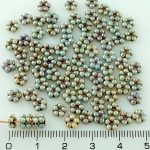 Forget-Me-Not Flower Czech Small Flat Beads - Picasso Brown Blue Luster - 5mm