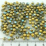 Round Czech Beads - Matte Crystal Rainbow Gold - 4mm