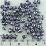 Teardrop Czech Beads - Patina Black Silver Purple Spotted - 6mm