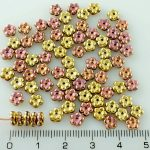 Forget-Me-Not Flower Czech Small Flat Beads - California Pink Gold Half - 5mm