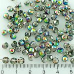 Mushroom Czech Beads - Crystal Vitrail Green Pink Half - 4mm