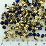 Mushroom Czech Beads - California Blue Gold Half - 4mm