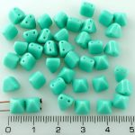 Pyramid Stud Two Hole Czech Beads - Opaque Turquoise Green - 6mm