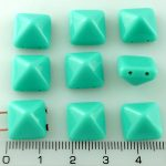 Pyramid Stud Two Hole Czech Beads - Turquoise Green - 12mm