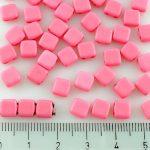 Two Hole Czech Beads - Rose Pink Silk Matte - 6mm