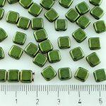Two Hole Czech Beads - Metallic Green Luster - 6mm