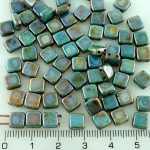 Two Hole Czech Beads - Picasso Brown Blue Luster - 6mm