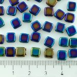 Two Hole Czech Beads - Metallic Blue Iris Rainbow - 6mm